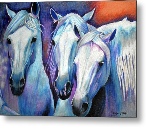 3 Horses Metal Print featuring the pastel Blues Brothers by Valerie Yvette Smith