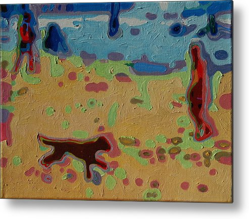 Brown Dog On Beach Metal Print featuring the painting Brown Dog On Beach by Thomas Bertram POOLE