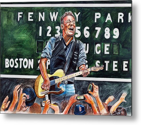 Bruce Springsteen Metal Print featuring the drawing Bruce Springsteen At Fenway Park by Dave Olsen