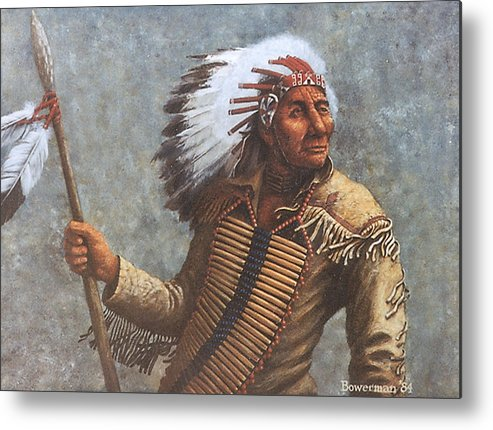 Native American Metal Print featuring the painting Chief Knife by Lee Bowerman