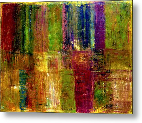 Abstract Metal Print featuring the painting Color Panel Abstract by Michelle Calkins
