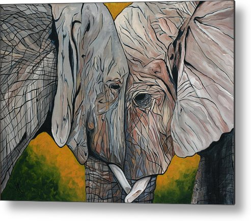 Elephant Metal Print featuring the painting Comfort by Aimee Vance