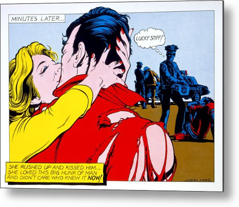 80's Metal Print featuring the photograph Comic Strip Kiss by MGL Studio