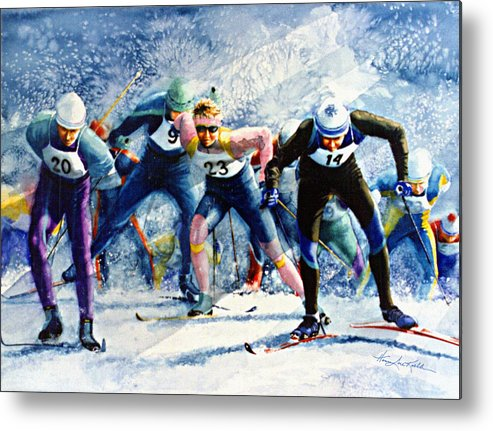 X-country Skiing Metal Print featuring the painting Cross-country Challenge by Hanne Lore Koehler