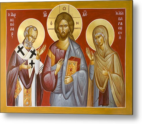 Deisis Icon Metal Print featuring the painting Deisis Jesus Christ St Nicholas And St Paraskevi by Julia Bridget Hayes