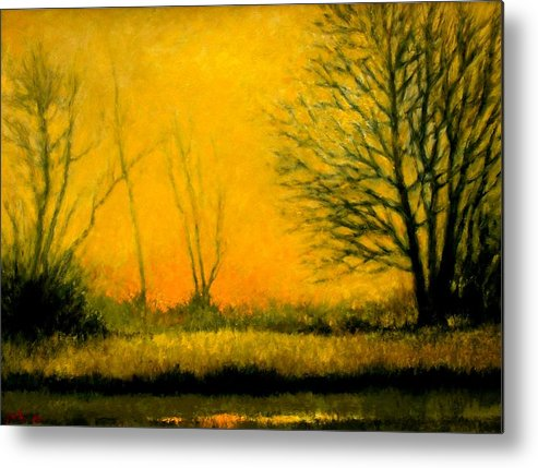 Landscape Metal Print featuring the painting Dusk At The Refuge by Jim Gola