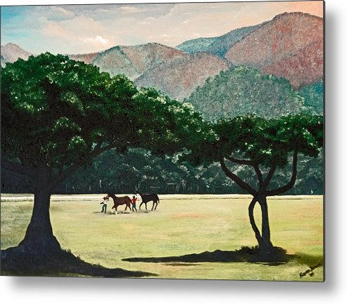 Trees Metal Print featuring the painting Early Morning Savannah by Karin Dawn Kelshall- Best