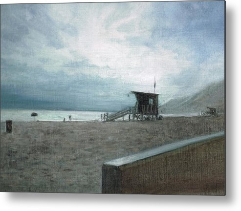 Beach Painting Metal Print featuring the painting End Of The Beach by Karen Stitt