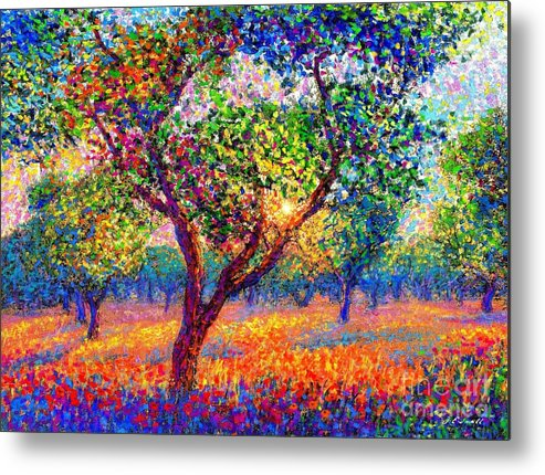 Poppies Metal Print featuring the painting Evening Poppies by Jane Small