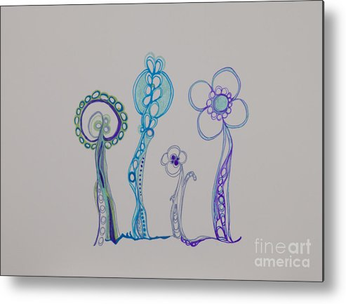 Flowers Metal Print featuring the drawing Families 23 by Christina Naman