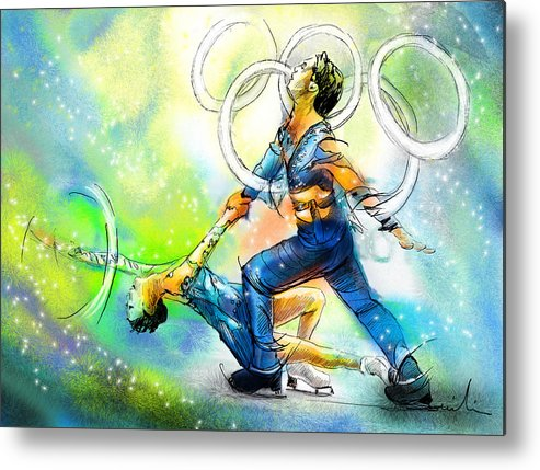 Sports Metal Print featuring the painting Figure Skating 01 by Miki De Goodaboom