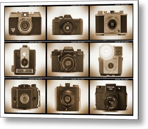 Vintage Film Cameras Metal Print featuring the photograph Film Camera Proofs 3 by Mike McGlothlen