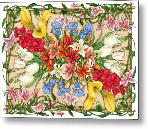 Flowers Metal Print featuring the painting Flowers by Zdenek Sasek
