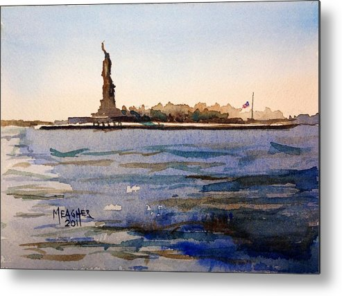 Statue Of Liberty Metal Print featuring the painting Freedom's Silhouette II by Spencer Meagher