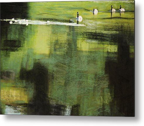 Geese Metal Print featuring the photograph Geese On Pond by Andy Mars