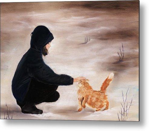 Malakhova Metal Print featuring the painting Girl And A Cat by Anastasiya Malakhova