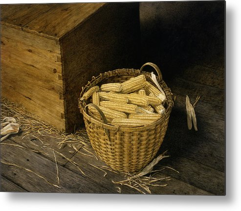 Still Life Metal Print featuring the painting Golden Harvest by Tom Wooldridge