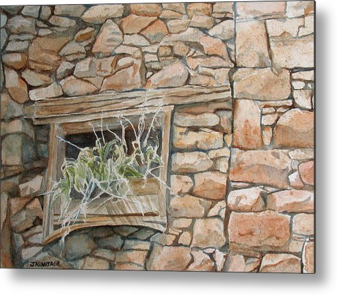 Wall Metal Print featuring the painting Grass In The Window by Jenny Armitage