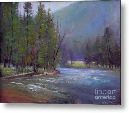 Yellowstone Metal Print featuring the painting Hazy Day On The Gallatin by Lori McNee
