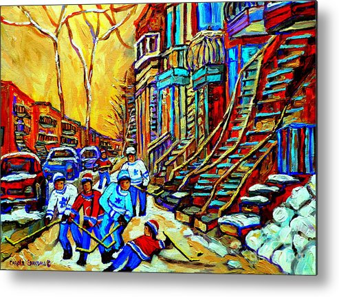 Montreal Metal Print featuring the painting Hockey Art Montreal Winter Scene Winding Staircases Kids Playing Street Hockey Painting by Carole Spandau
