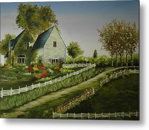 Country Metal Print featuring the painting Home In The Country by Anne Shaughnessy