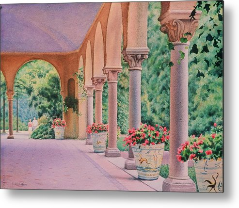 Watercolor Metal Print featuring the painting Italian Pavilion by Daniel Dayley