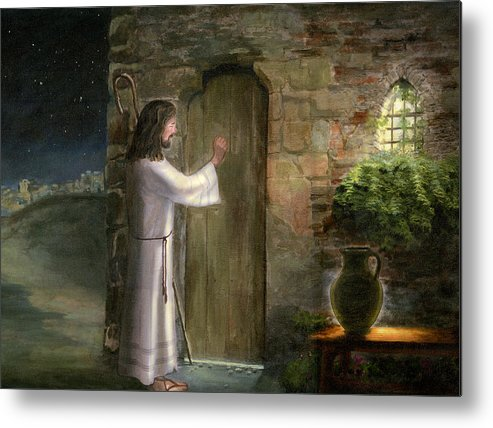 Jesus Knocking On The Door Oil Painting Canvas Original Priest Jerusalem Night Scene Bethlehem Light Jar Window Host Lord God Holy Spirit Christ Brown Green Blue Robe Staff Good Shepherd Holy Religious Spiritual Art Cecilia Brendel Bible Verse Matthew 7:7 Mat 7:7 Jesus Christ Son Of Man Shephard Staff Window Classical Metal Print featuring the painting Jesus Knocking On The Door by Cecilia Brendel