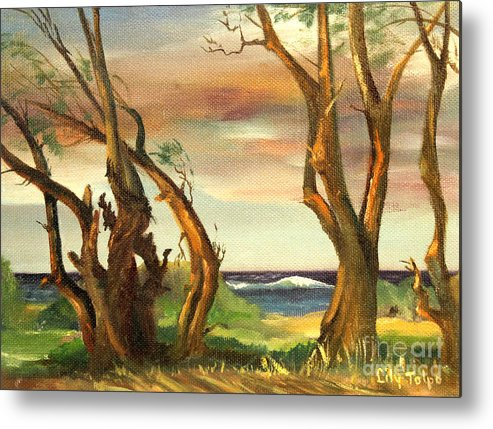 Kaena Metal Print featuring the painting Kaina Point - Oahu Hi. by Art By Tolpo Collection