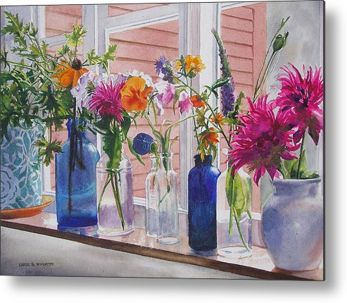 Geraniums Metal Print featuring the painting Kitchen Window Sill by Karol Wyckoff