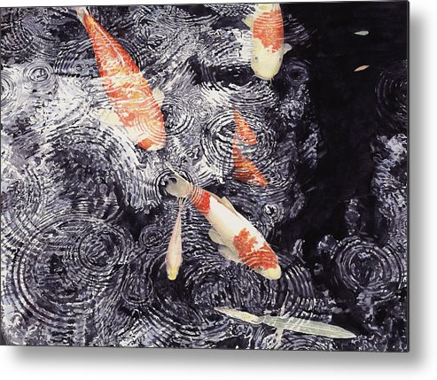 Koi Metal Print featuring the painting Koi In The Rain by Ted Head
