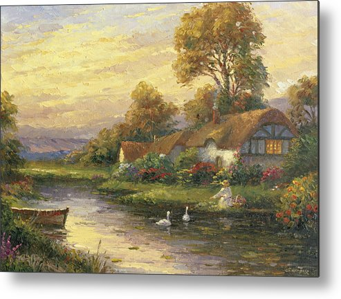 Woman Metal Print featuring the painting Lakeside Cottage by Ghambaro