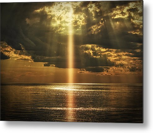 Laser Metal Print featuring the photograph Laser Light Reflections by Stuart Deacon