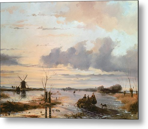 Windmill Metal Print featuring the painting Late Winter In Holland by Nicholas Jan Roosenboom