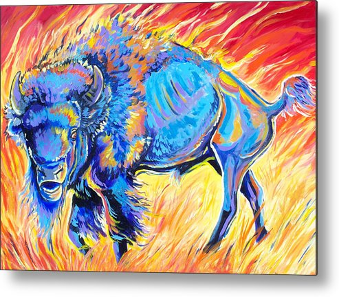 Buffalo Metal Print featuring the painting Lord Of The Prairie by Jenn Cunningham