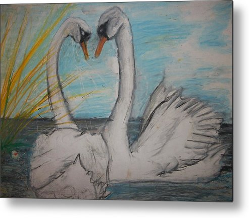 Outdoor Metal Print featuring the pastel Love Birds by Jake Huenink