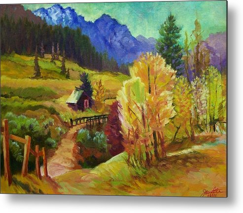 Autumn Metal Print featuring the painting Markleeville Hillside by Janette Reed-Lawson