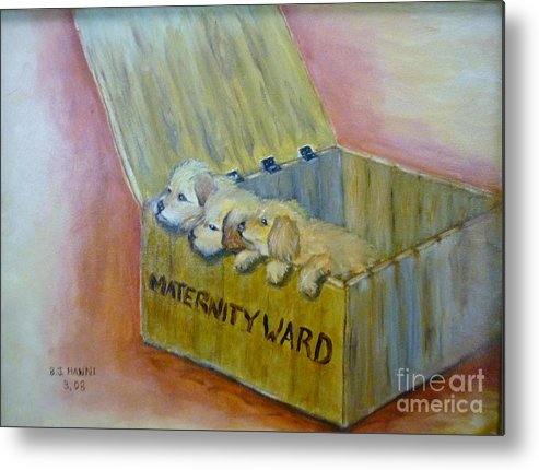 Puppies Metal Print featuring the painting Maternity Ward by Beverly Hanni