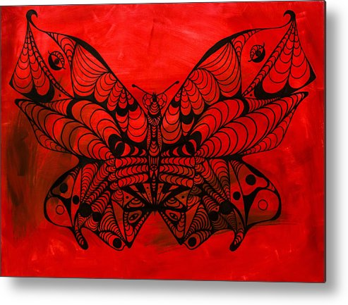 Max The Butterfly Metal Print featuring the painting Max The Butterfly by Kenal Louis