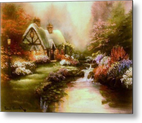 Landscape Metal Print featuring the painting Mellow by Pamela Powers