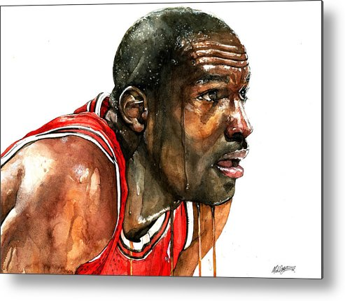 Michael Metal Print featuring the painting Michael Jordan Early Days by Michael Pattison