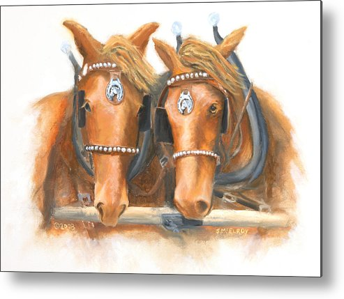 Horse Metal Print featuring the painting Mini And Jake by Jerry McElroy