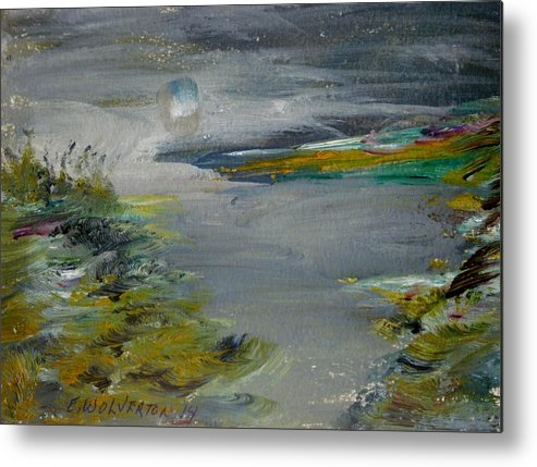 Sea Metal Print featuring the painting Moonlight Bay by Edward Wolverton