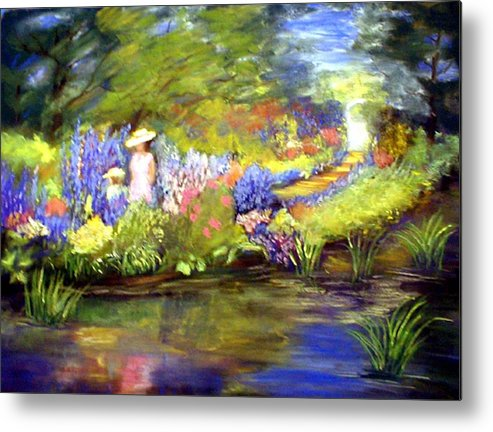 Flower Garden Metal Print featuring the painting Mother And Daughter by Gail Kirtz