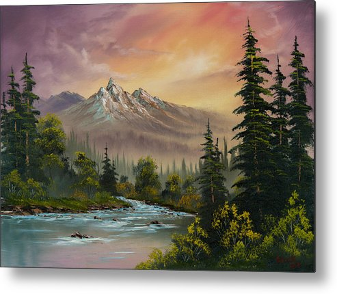 Landscape Metal Print featuring the painting Mountain Sunset by Chris Steele