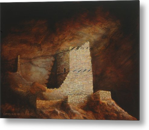 Anasazi Metal Print featuring the painting Mummy Cave by Jerry McElroy