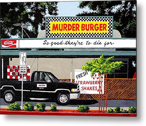 Sacramento Metal Print featuring the painting Murder Burger by Paul Guyer