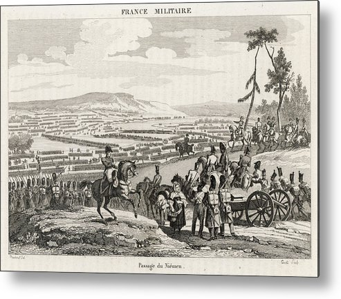 Events Metal Print featuring the drawing Napoleon's Army Crosses The Neman by Mary Evans Picture Library