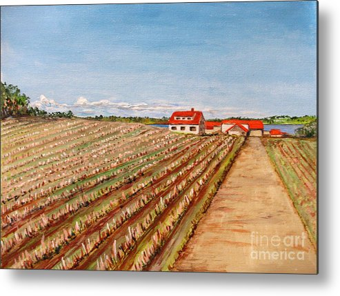 Landscape Metal Print featuring the painting Norway Farm by Nancie Johnson