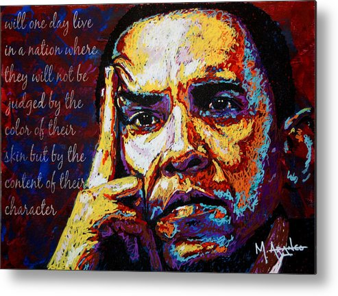 Barack Obama Metal Print featuring the painting Obama by Maria Arango