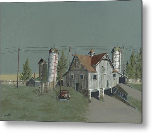 Silo Metal Print featuring the painting One Man's Castle by John Wyckoff